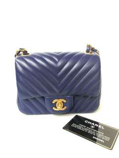 Chanel mini square lamb ghw