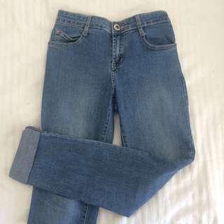 Light wash blue skinny jeans
