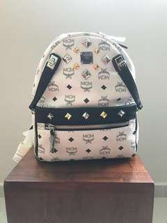 MCM White Dual Stark Small Backpack