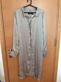🆕 Oscar Suleyman silk silver long sleeve shirt size 36