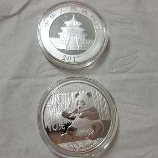2017 中國 熊貓 銀幣 China Silver Coin