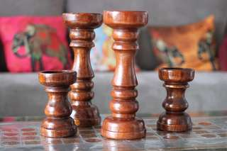 Heavy handmade wooden candle stand