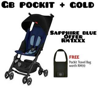 2018 GB Pockit Plus Gold Sapphire Blue + Free Bag + Free Gift (Ready Stock)