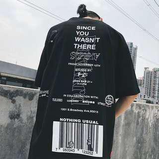 🚚 創意字母印花短袖T恤歐美街頭嘻哈日常寬鬆T
