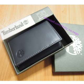AUTHENTIC Timberland Men's Leather wallet Trifold smooth black