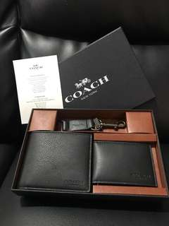 100% Authentic Coach Men Wallet Gift Set