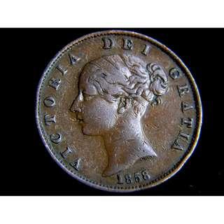 1858年大英帝國不列顛尼亞女神坐像玫瑰國花1/2便士(Penny)銅幣(英女皇維多利亞少女像)