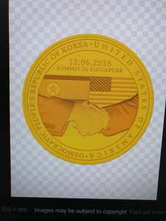 US-North Korea Summit 2018 1/2  or 999.9 Gold proof medallion coin