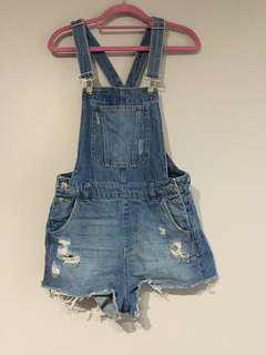 (USED) H&M Denim Short Overalls (Size 6)