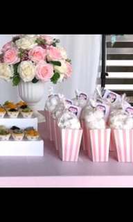 Pink Popcorn Holder Dessert Table