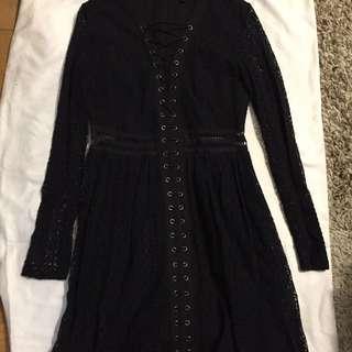 Bardot lace Gigi dress in black