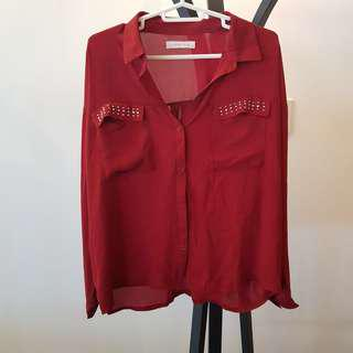Lowrys Farm red collared button-down with crystal embellishment detail