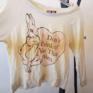 TOA I don't think of you that often statement rabbit top