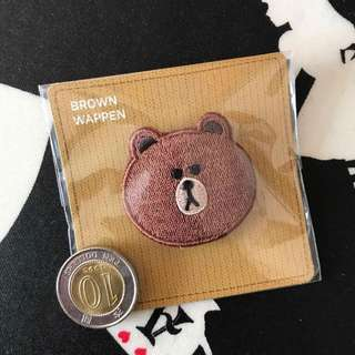 🔴LINE FRIENDS Brown embroidery brooch 刺繡胸針