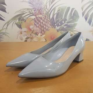 Charles and Keith powder blue pointy low heels