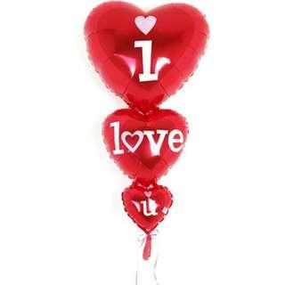 Tripple hearts i love you foil balloon