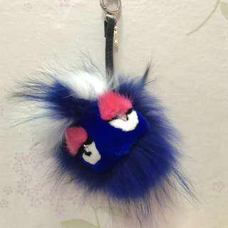 Fendi Monster blue fur ball bag charm