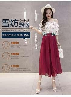 🎀雪紡顯瘦褲裙(薄款)紅色2XL