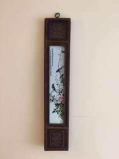 精緻仿舊工瓷板畫:[鳥嗚花落]:如相片所示