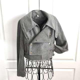Cropped Tweed Military Jacket Blazer