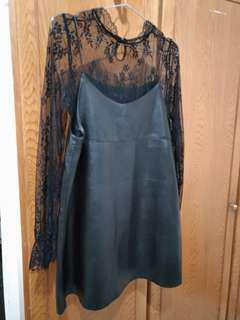 黑色皮革小洋裝組合