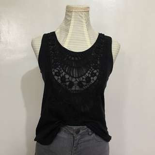 TALLY WEilL black top with crochet details