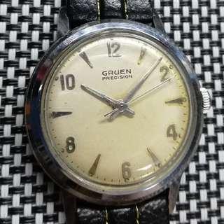 🎙古董味濃🎙 瑞士製Gruen Precision古董錶 60年代產物,原裝面,無番寫,17石上弦機芯,行走精神,塑膠上蓋,錶頭直徑34mm不連霸的,淨錶,有意請pm