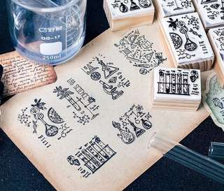 (PO) Lab Equipments Wooden Stamp