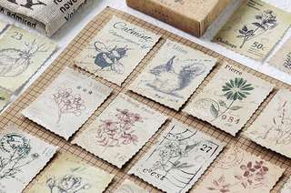 (PO) Vintage Stamp Stickers