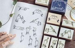 (PO) Hand Signs Wooden Stamps