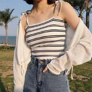 (4 Colours) Ribbed Stripes Self Tie Top