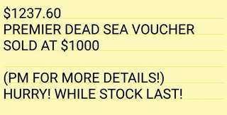 Premier Dead Sea $1237.60 voucher sold at $1000 (while stock lasts!)