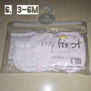 Sarung tangan bayi isi 3 pasang mothercare original size 3-6M