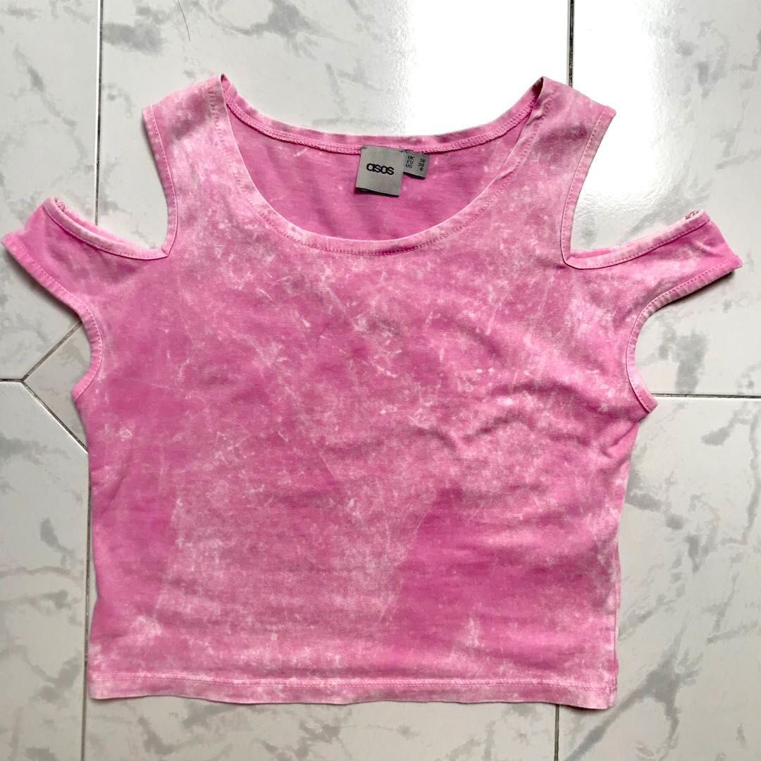 c315420049f ASOS Acid Wash Pink Cold Shoulder Crop Top