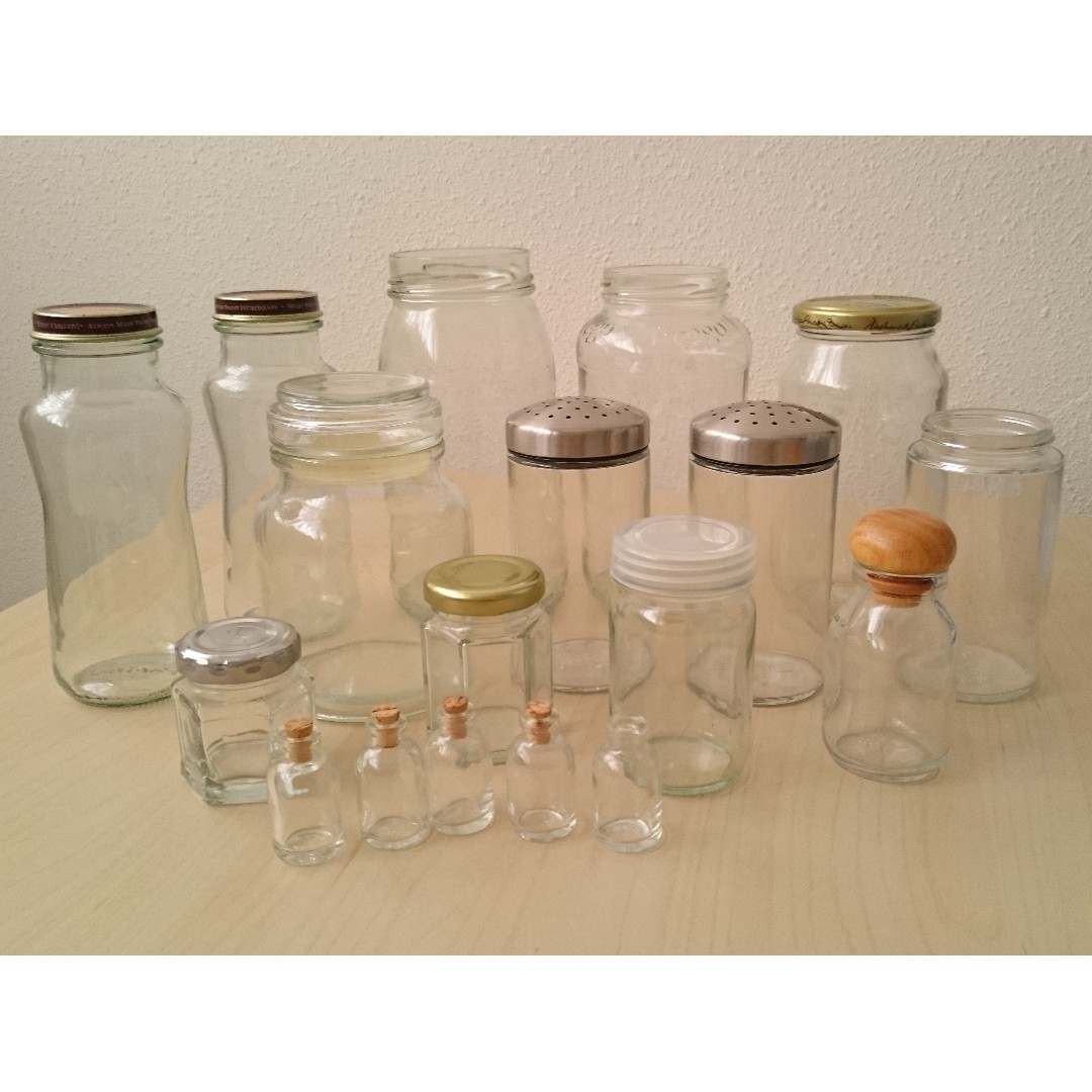 Assorted Glass Bottles Includes 2 Ikea Salt Pepper Shakers