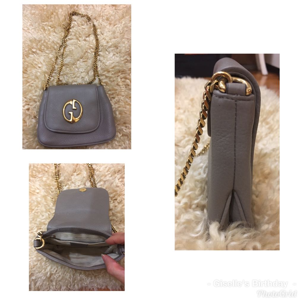 3a01b68bf3d Authentic Gucci Sling Grey Bag