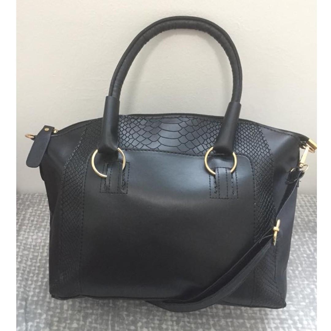 Black Handbag Tote Bag Shoulder Sling for Women Ladies 49d4461d84