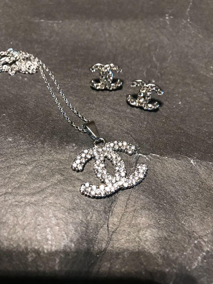 Brand New Chanel Necklace Set with Earrings