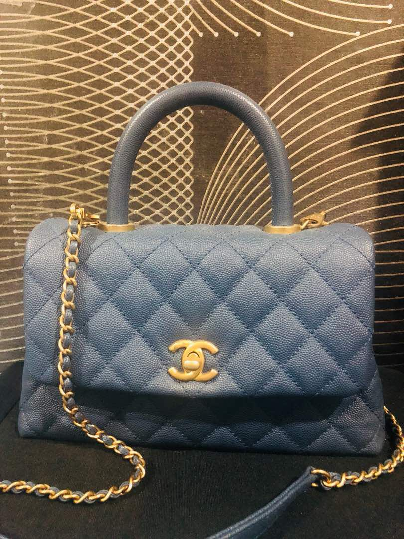 d5a71b7d3055 Chanel Coco Handle Mini Blue with GHW, Luxury, Bags & Wallets, Handbags on  Carousell