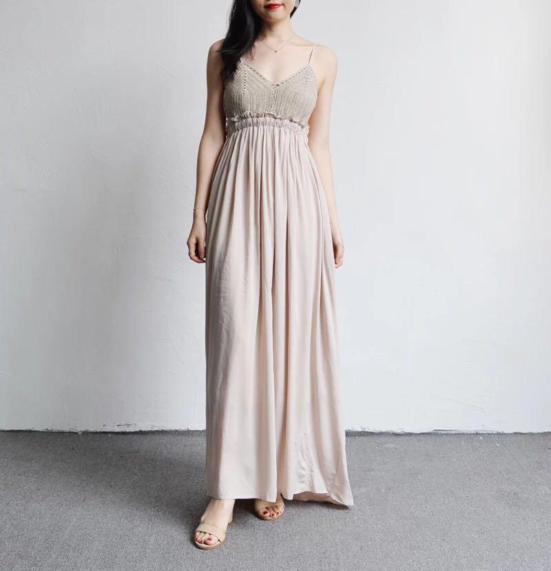 Crochet Maxi Dress White Long Flowy Dress Lace Bralet Evening Gown ...