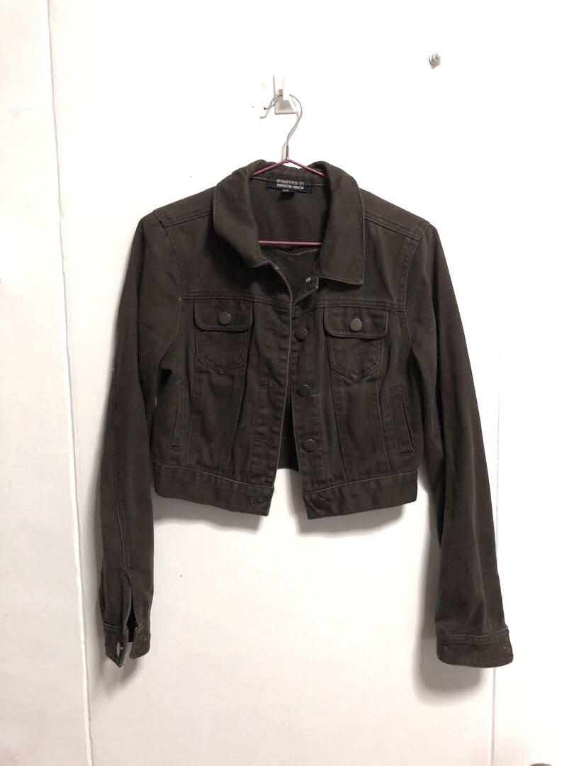 5582ffd18499 Forever 21 Cropped Brown Denim Jacket