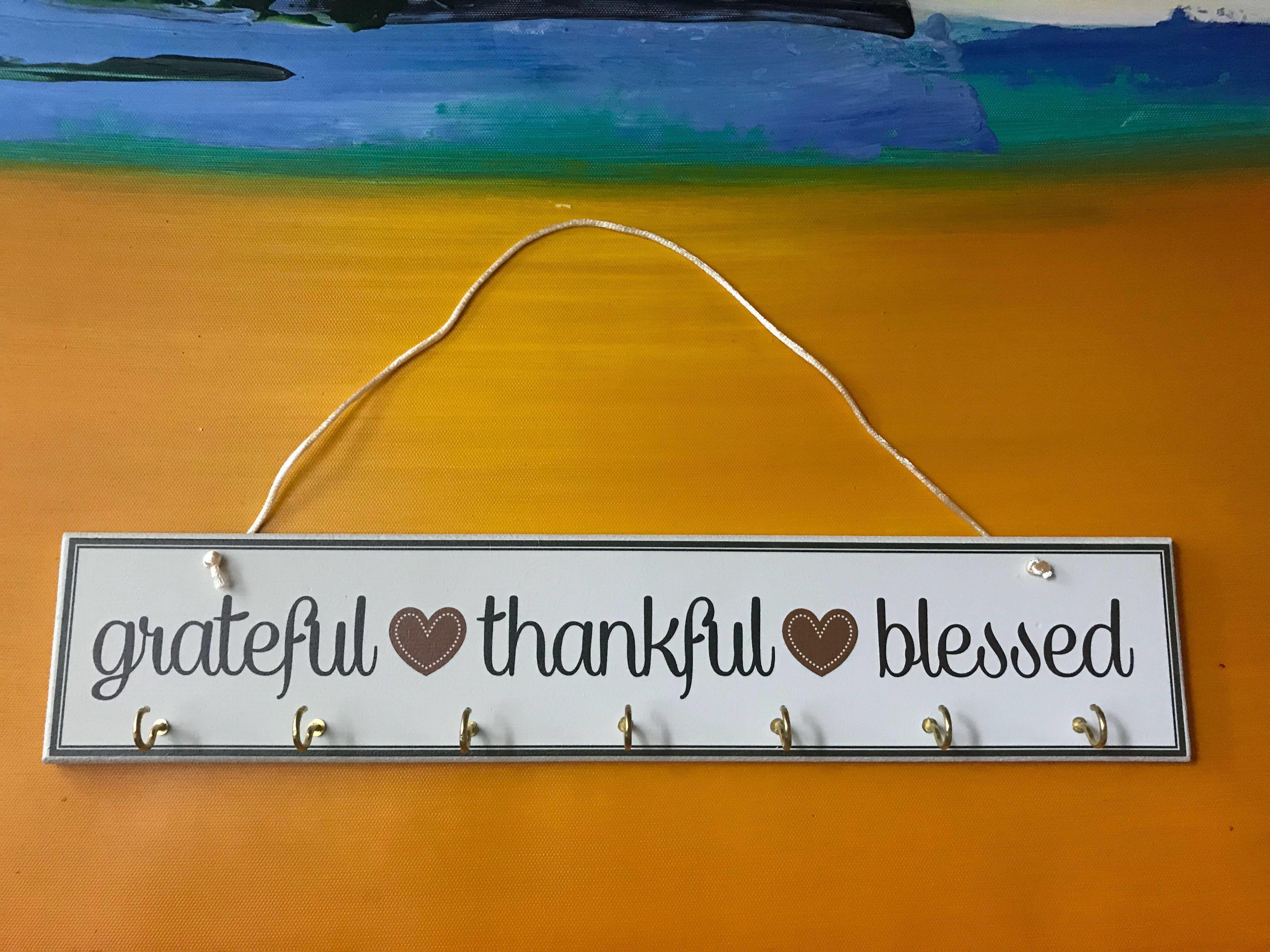 Grateful Thankful Blessed Key Holder Wall decor, Design & Craft ...