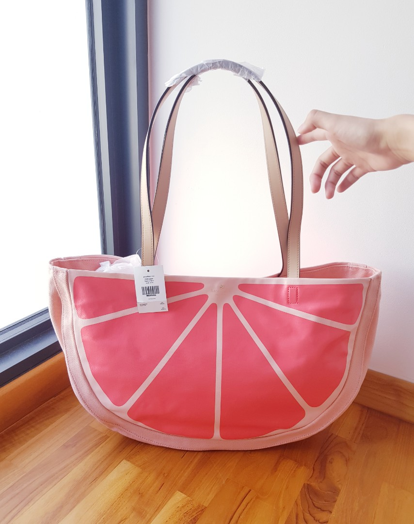 82103f9e30ed Limited Edition Kate Spade Flights of Fancy Grapefruit XXL Tote Bag ...