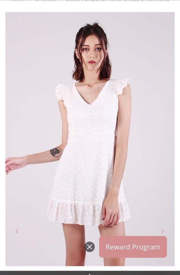 Kissablebella White Crochet Mini Dress Premium Womens Fashion