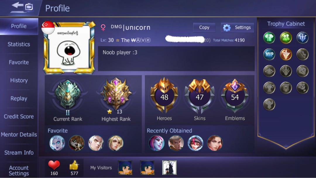 Mobile legend account, Toys & Games, Video Gaming, Video