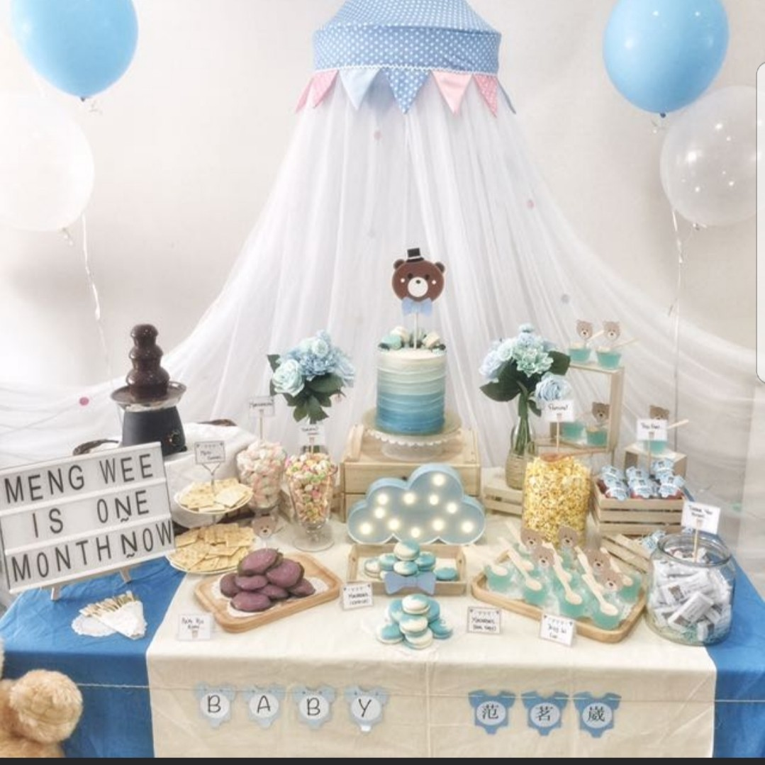 Party Stylist Baby Bear Blue Dessert Table For Baby Shower And