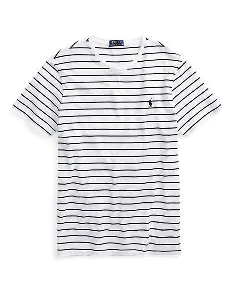 ff8fe7be215f Ralph Lauren White Black Striped Tee, Men's Fashion, Clothes, Tops ...