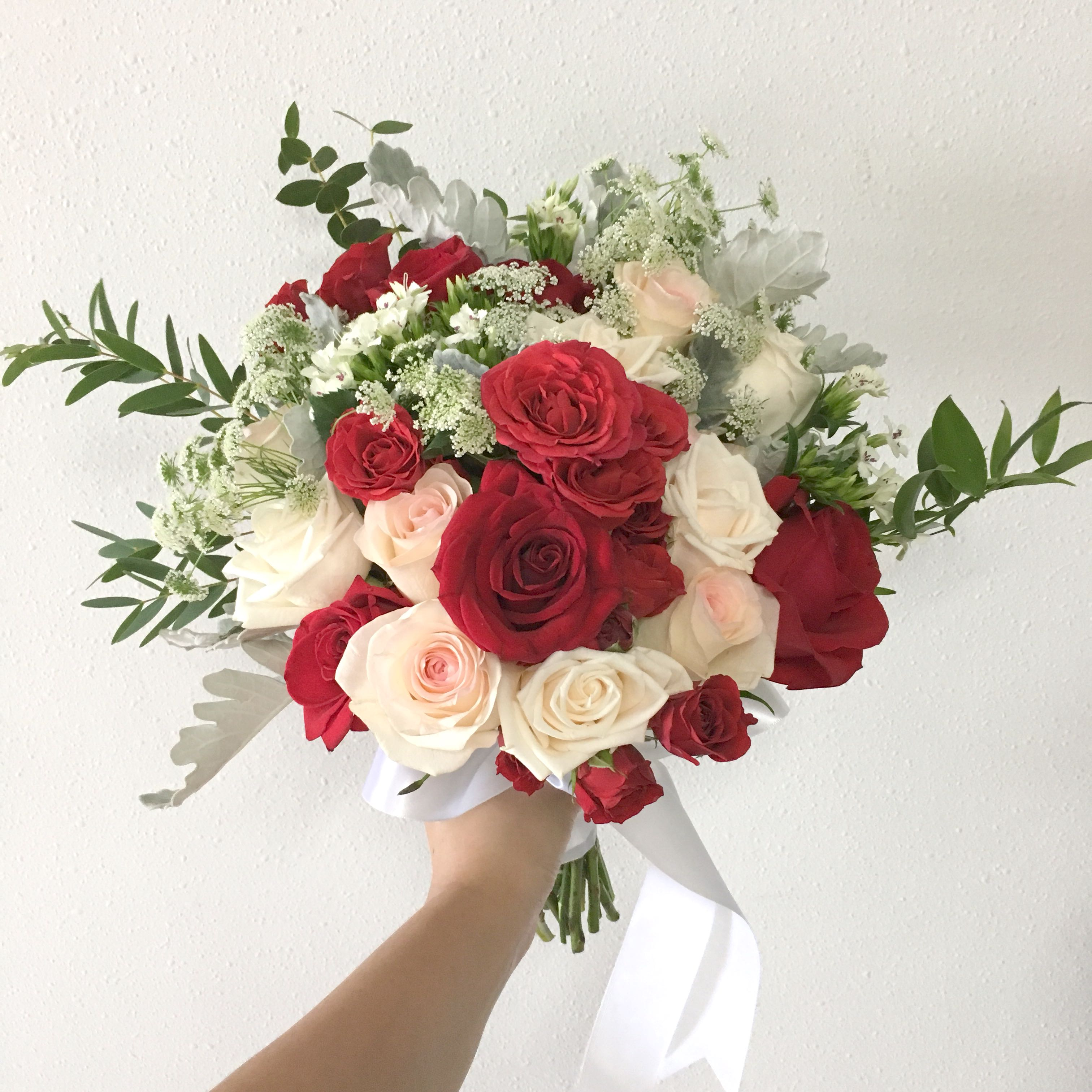 Red Rose Wedding Bouqet.Red Bridal Bouquet In Red Roses With Pastel Pink Wedding