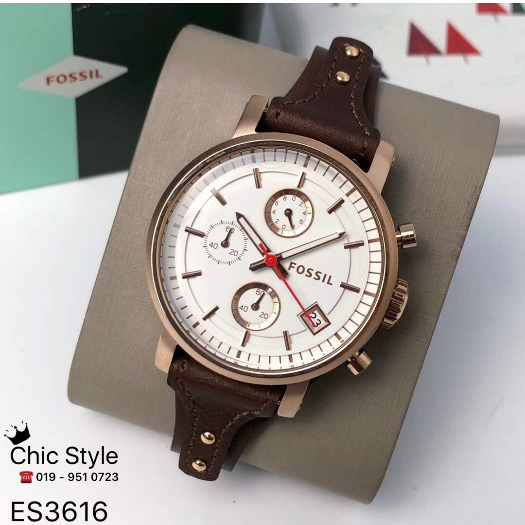 Fossil Jam Tangan Wanita Es3616 Original Boyfriend Es3837 Stock Ready Watch Chronograph Raisin Leather Fesyen