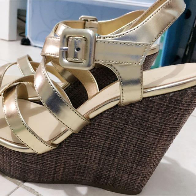 Strappy Gold Wedges